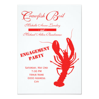 Crawfish Boil Engagement Party 5x7 Paper Invitation Card