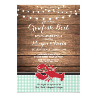 Crawfish Boil Engagement Party Mint Lobster Invitation