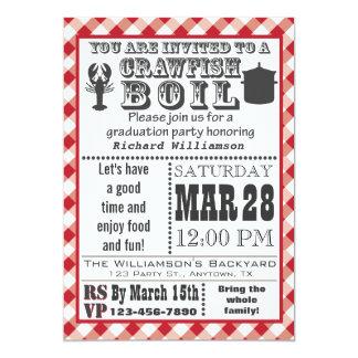 "Crawfish Boil Graduation Party Invitation 5"" X 7"" Invitation Card"