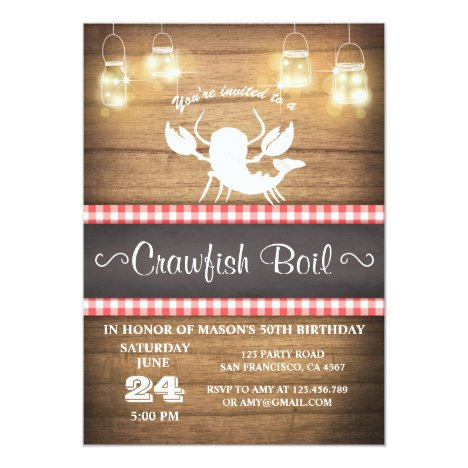 Crawfish boil invitation Rustic wood Birthday BBQ