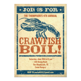 "Crawfish Boil Invitations 5"" X 7"" Invitation Card"