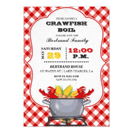 Crawfish Boil Pot Red Checkered Gingham Card