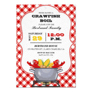 Crawfish Boil Pot Red Checkered Gingham Card