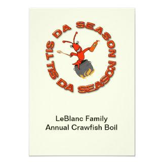 "Crawfish Boil Tis Da Season Invitations 5"" X 7"" Invitation Card"