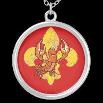Crawfish/ Crayfish Fleur De Lis necklaces