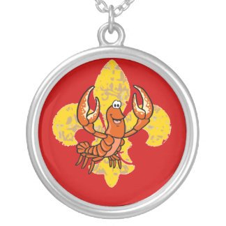 Crawfish/ Crayfish Fleur De Lis Round Pendant Necklace