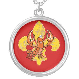 Crawfish/ Crayfish Fleur De Lis Silver Plated Necklace