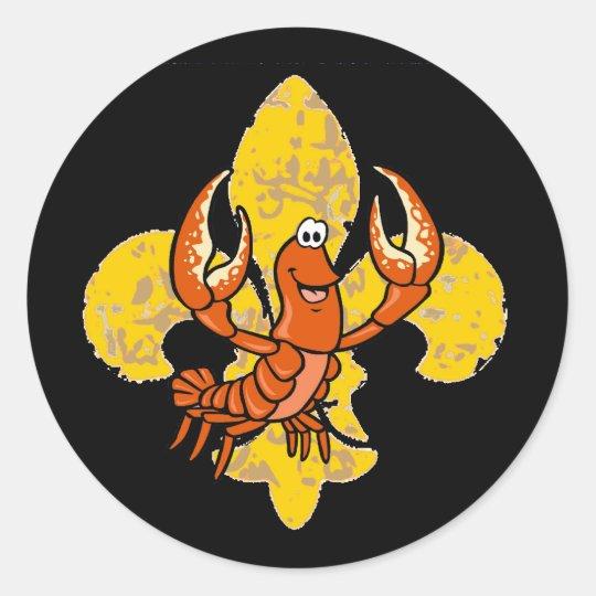 Crawfish Fleur De Lis Classic Round Sticker
