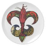 Crawfish Fleur De Lis Dinner Plate