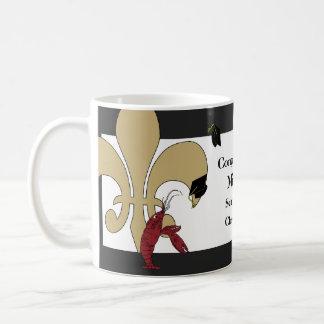 Crawfish Fleur de Lis Graduation Black Gold Coffee Mugs
