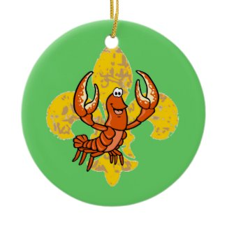 Crawfish Fleur De Lis ornament