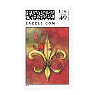 Crawfish Fleur-de-lis Postage Stamps