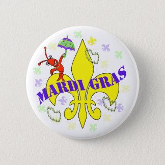 Crawfish Fleur de Lys Mardi Gras Button