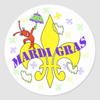 Crawfish Fleur de Lys Mardi Gras Stickers
