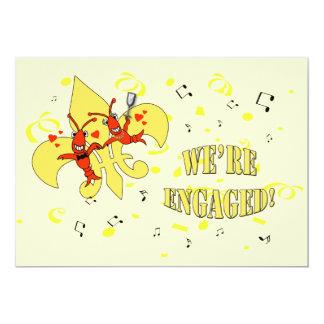 Crawfish Gold Fleur de Lis Engagement Party Card