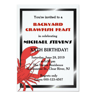 Crawfish/Lobster Boil Birthday Party Invite Cards