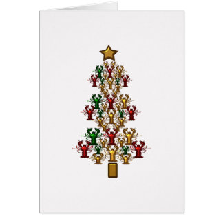 Crawfish Lobster Christmas Tree Card