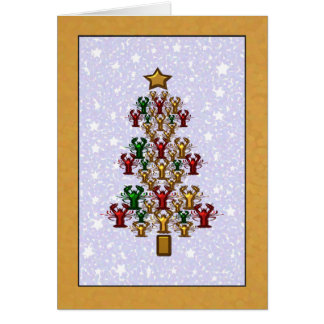 Crawfish Lobster Christmas Tree Stars (gold) Card