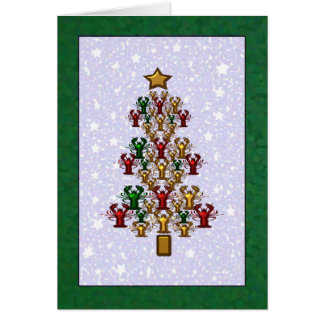 Crawfish Lobster Christmas Tree Stars (green) Card