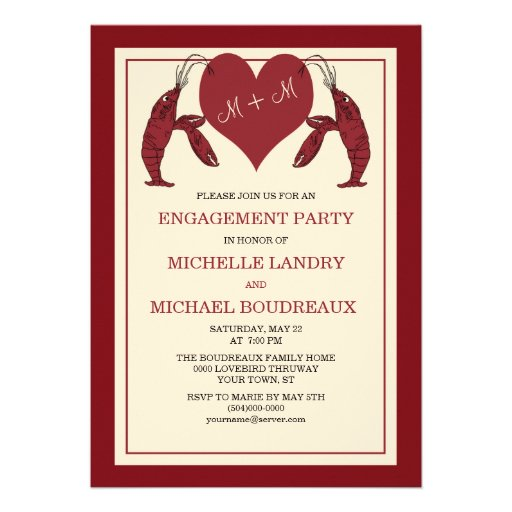 Crawfish Lobsters with Heart Engagement Party Announcement