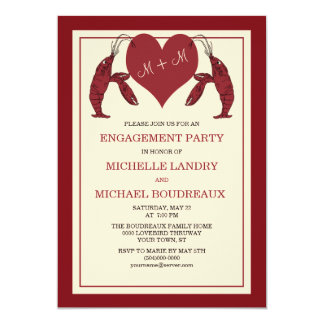 Crawfish Lobsters with Heart Engagement Party Invitation