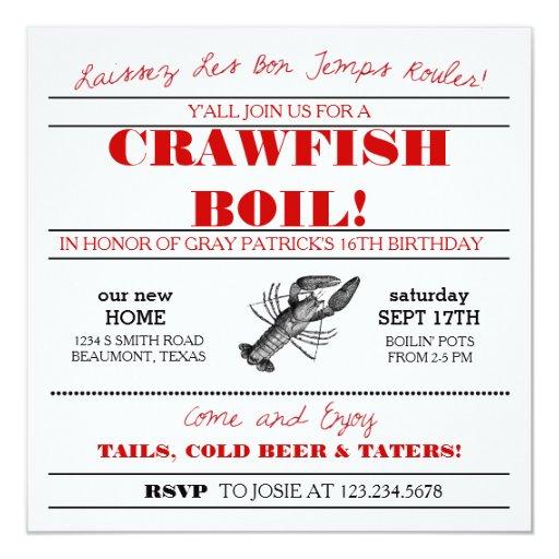 Personalized Crawfish boil Invitations CustomInvitations4Ucom