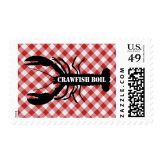 Crawfish Silo on Red & White Checked Cloth Boil Postage