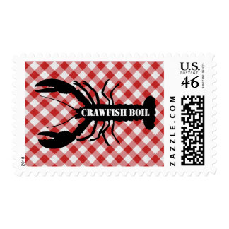 Crawfish Silo on Red & White Checked Cloth Boil Postage Stamps