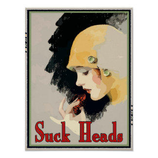 Crawfish: Suck Heads, girl in hat, Poster