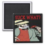 "Crawfish "" Suck What"" ? Comical Cartoon 2 Inch Square Magnet"