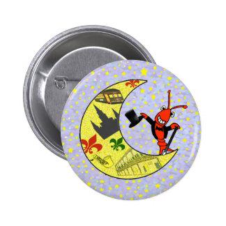 Crawfish Top Hat Crescent Moon 2 Inch Round Button