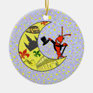 Crawfish Top Hat Crescent Moon Ceramic Ornament