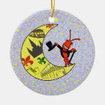 Crawfish Top Hat Crescent Moon Christmas Tree Ornament