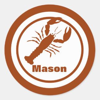 Crawfish with Name Classic Round Sticker