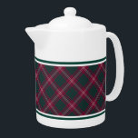 "Crawford Clan Tartan Maroon Plaid Teapot<br><div class=""desc"">Teapot with the Crawford family clan tartan pattern. Traditional vintage Scottish plaid from 1842 in maroon,  green,  and white. Choose from two sizes. Matching teacups and mugs available.</div>"