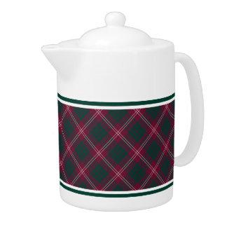 Crawford Clan Tartan Maroon Plaid Teapot