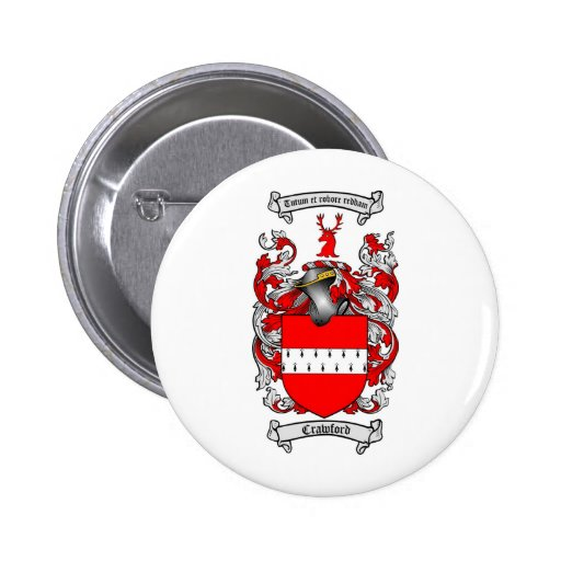 CRAWFORD FAMILY CREST -  CRAWFORD COAT OF ARMS BUTTON