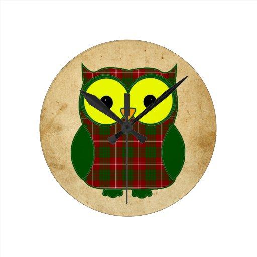 Crawford Tartan Plaid Owl Round Clock