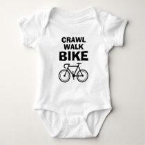 Crawl Walk Bike funny biking baby bodysuit