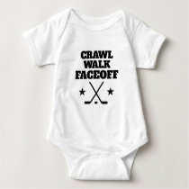 Crawl Walk Faceoff funny ice hockey baby bodysuit