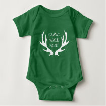 CRAWL WALK HUNT deer antler bodysuit for new baby