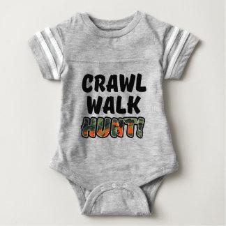 Crawl Walk Hunt Funny Baby camo Baby Bodysuit