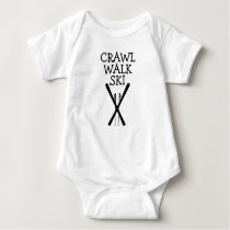 Crawl Walk Ski Skier Skiing Baby Bodysuit