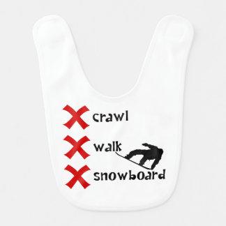 Crawl Walk Snowboard Baby Bib