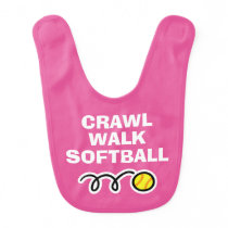 CRAWL WALK SOFTBALL girls baby bib for newborn