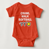 CRAWL WALK SOFTBALL sports bodysuit for new baby