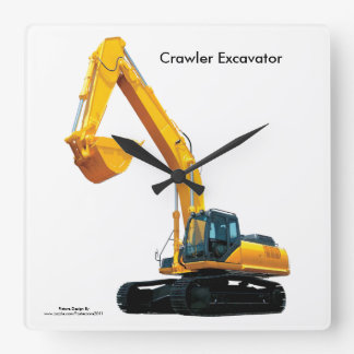 Crawler Excavator image for Square-Wall-Clock Square Wall Clock