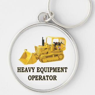 CRAWLER LOADER Silver-Colored ROUND KEYCHAIN