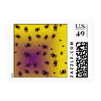 Crawling black spiders stamps