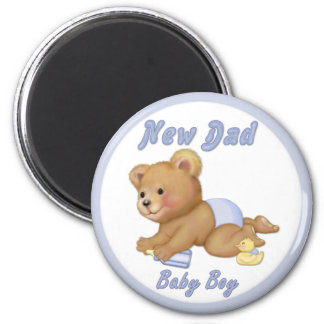 Crawling Teddy - New Dad of Boy - Customize 2 Inch Round Magnet